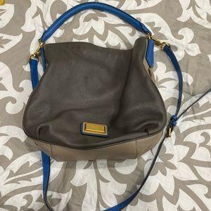 Marc Jacobs blue and gray hobo bag.